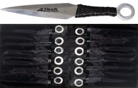 12pc atech throwing knife set silver tk86812sl