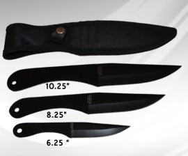3pc throwing knife set black z1012bk