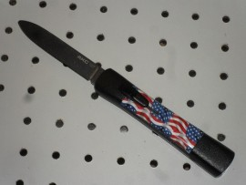 AKC Concord American Flag D/A OTF Automatic Knife Satin Flat Grind