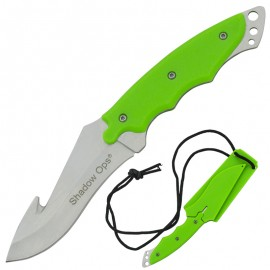Fixed Blade Full Tang Green Zombie Gut Hook Neck Knife