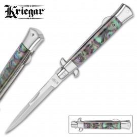 Kriegar Faux Abalone Folding Stiletto Knife