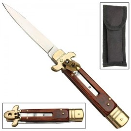 Leverlock Stiletto Old Oak Automatic Knife