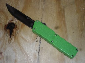Lightning Green D/A OTF Automatic Knife Satin Drop Point