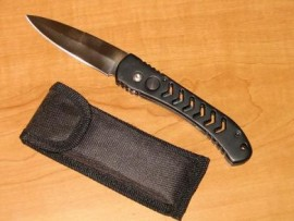 black auto knife with sheath sb330bk
