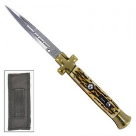 "Cross 9"" Stiletto Automatic Knife Stag"