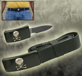 hidden belt buckle knife toxic skull black hg01gt