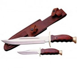 2pc Hunting Knife Set With Sheath