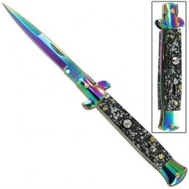 milano switchblade stiletto titanium splash knife a150pr
