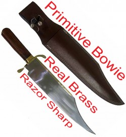 Primitive Bowie Knife Wood Handle 18