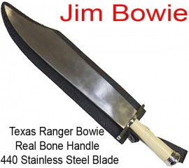 Texas Bowie Knife Bone Handle With Sheath