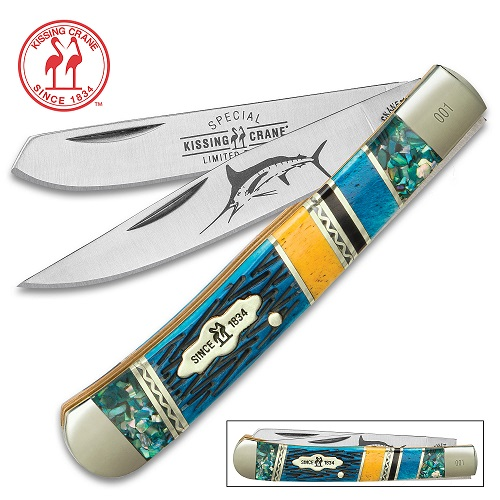 Kissing Crane 2018 Marlin Trapper Pocket Knife Abalone