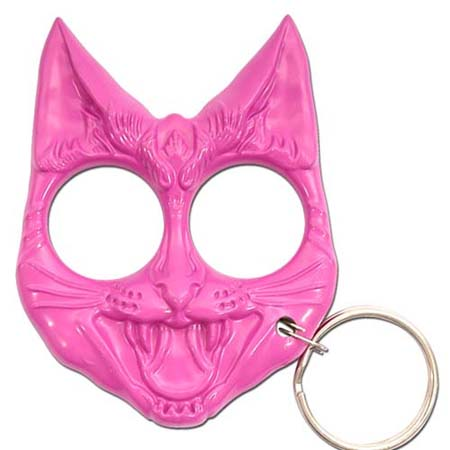 Self Defense Evil Cat Protection Keychain Pink
