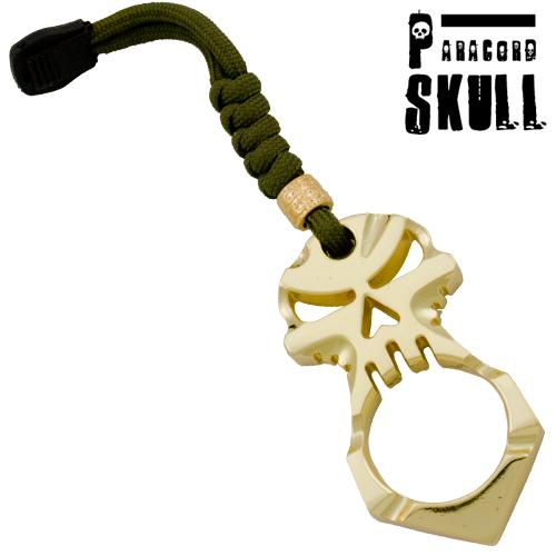 Self Defense Gold Survival Knuckle Keychain Skull Head